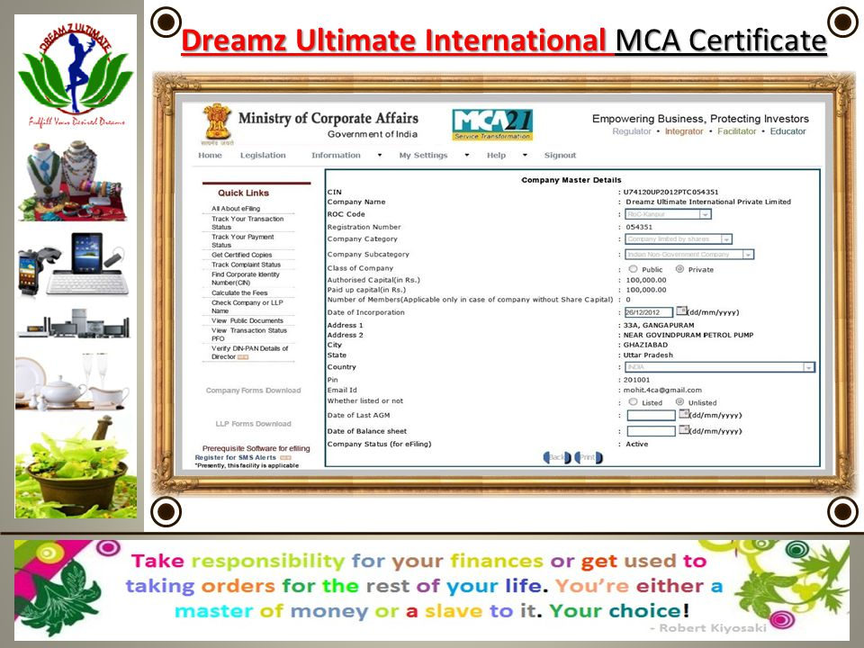 Dreamz Ultimate International Herbal Hills Certificate