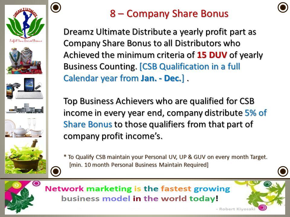 8 – Company Share Bonus Dreamz Ultimate Distribute a yearly profit part as Company Share Bonus to all Distributors who Achieved the minimum criteria o