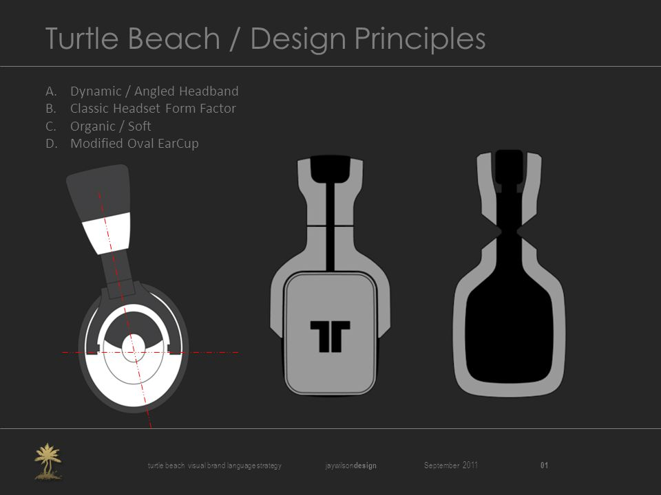 Turtle Beach / Design Principles A.Dynamic / Angled Headband B.Classic Headset Form Factor C.Organic / Soft D.Modified Oval EarCup turtle beach visual