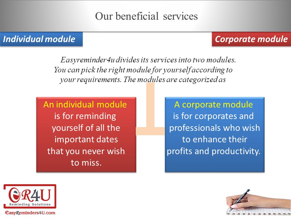 Individual module Corporate module E asyreminder4u divides its services into two modules.