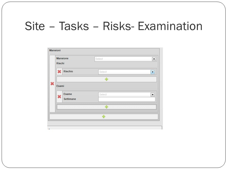 Site – Tasks – Risks- Examination
