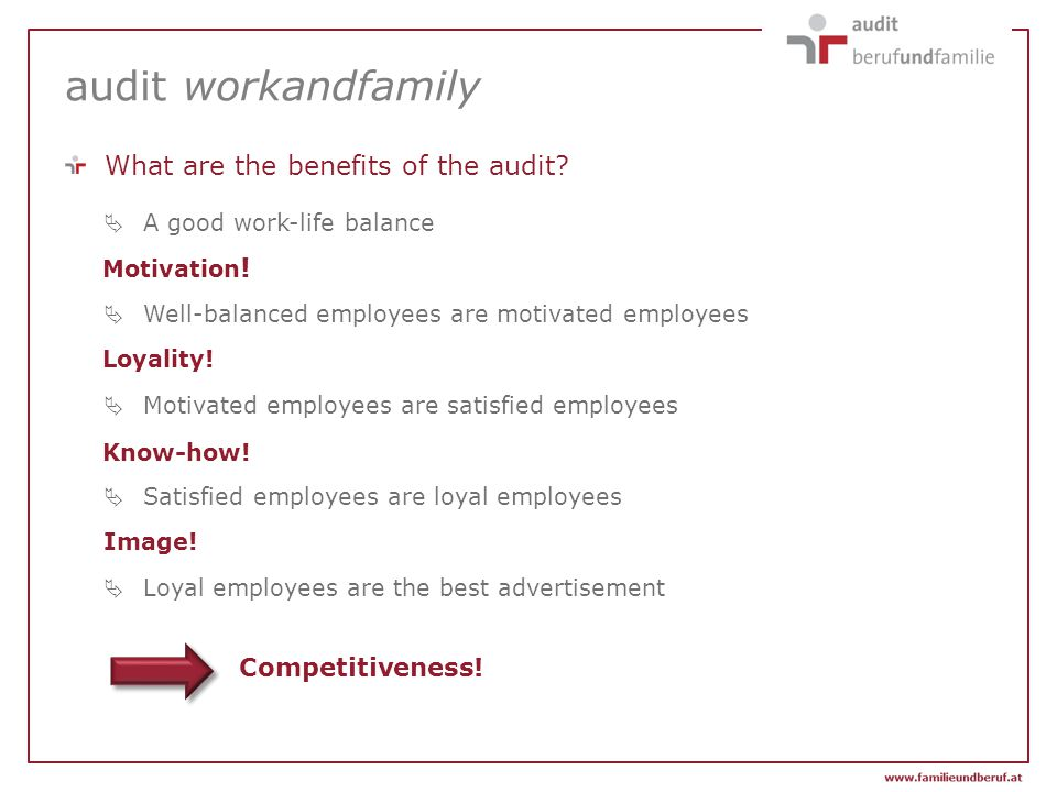 Competitiveness! audit workandfamily  A good work-life balance  Well-balanced employees are motivated employees  Motivated employees are satisfied