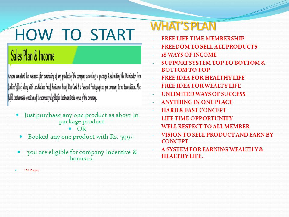 HOW TO START Just purchase any one product as above in package product OR Booked any one product with Rs.