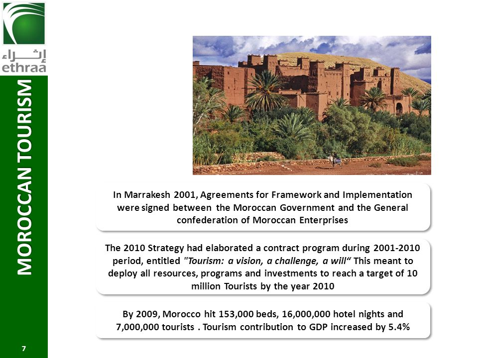 MOROCCAN TOURISM 7 In Marrakesh 2001, Agreements for Framework and Implementation were signed between the Moroccan Government and the General confeder