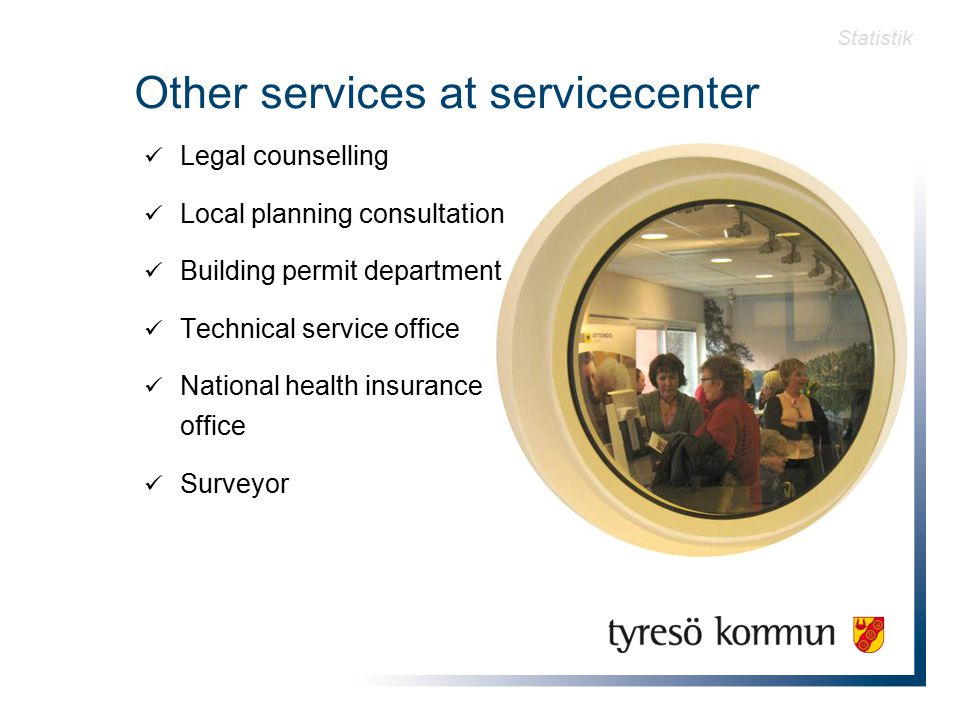 Other services at servicecenter Legal counselling Local planning consultation Building permit department Technical service office National health insurance office Surveyor Statistik