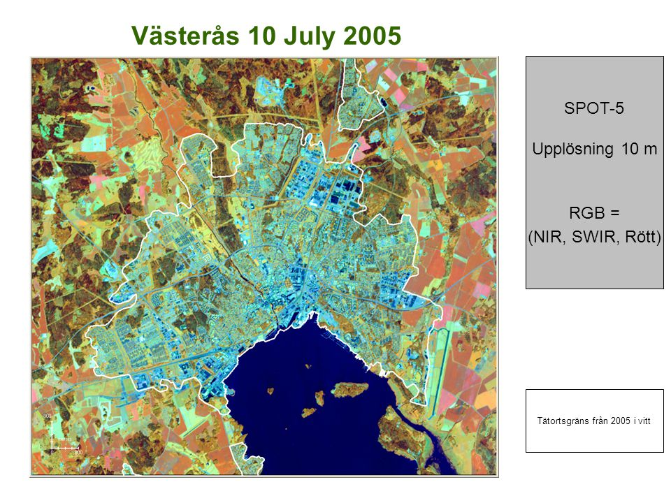 Västerås 10 July 2005 SPOT-5 Upplösning 10 m RGB = (NIR, SWIR, Rött) Tätortsgräns från 2005 i vitt