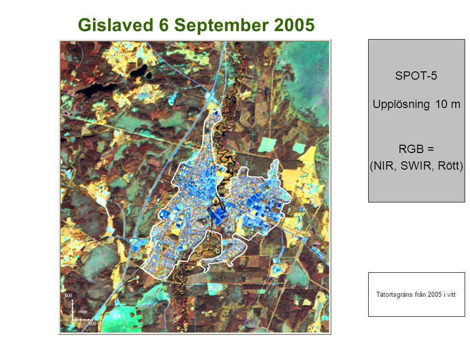 Gislaved 6 September 2005 SPOT-5 Upplösning 10 m RGB = (NIR, SWIR, Rött) Tätortsgräns från 2005 i vitt