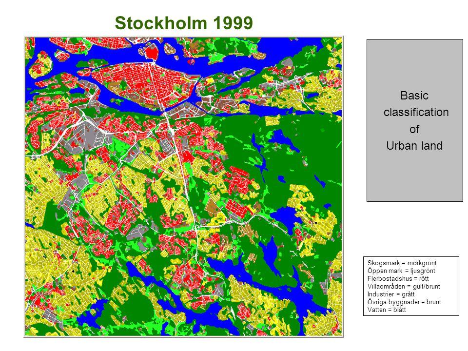 Stockholm 1999 Basic classification of Urban land Skogsmark = mörkgrönt Öppen mark = ljusgrönt Flerbostadshus = rött Villaområden = gult/brunt Industrier = grått Övriga byggnader = brunt Vatten = blått