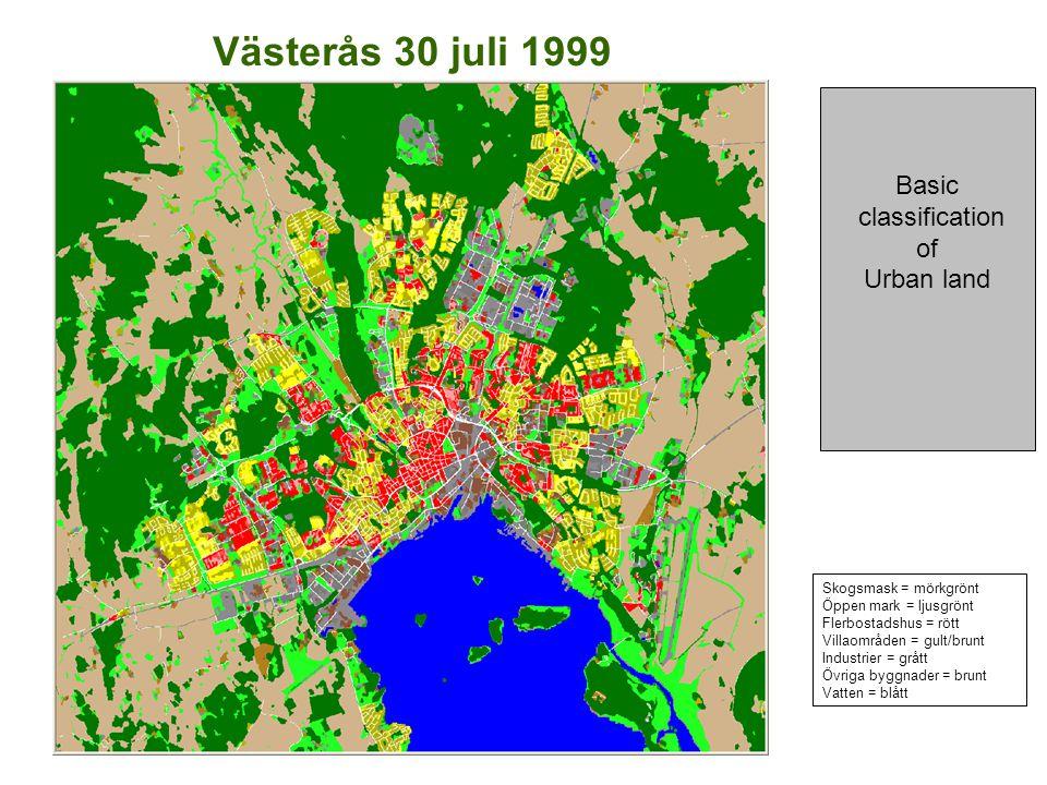 Västerås 30 juli 1999 Basic classification of Urban land Skogsmask = mörkgrönt Öppen mark = ljusgrönt Flerbostadshus = rött Villaområden = gult/brunt Industrier = grått Övriga byggnader = brunt Vatten = blått