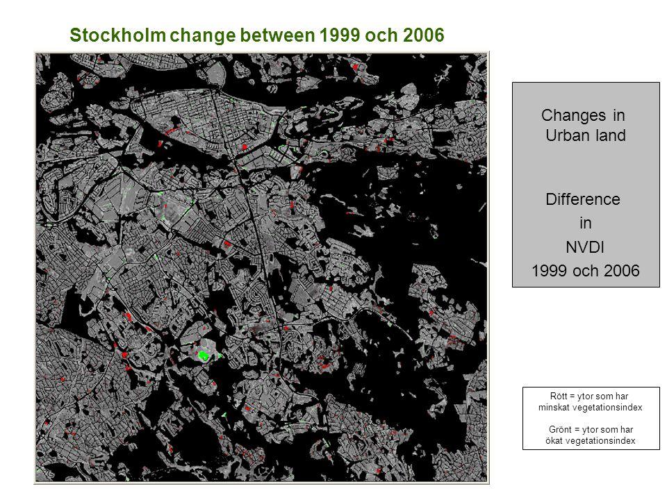 Stockholm change between 1999 och 2006 Changes in Urban land Difference in NVDI 1999 och 2006 Rött = ytor som har minskat vegetationsindex Grönt = ytor som har ökat vegetationsindex
