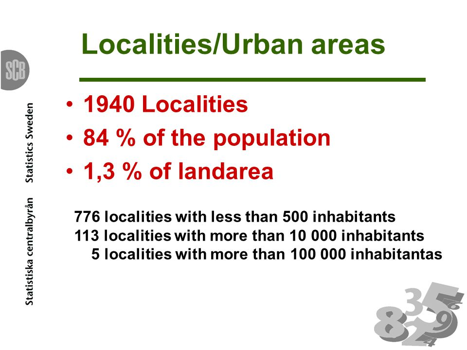 Statistics on landuse in localities based on areal photos