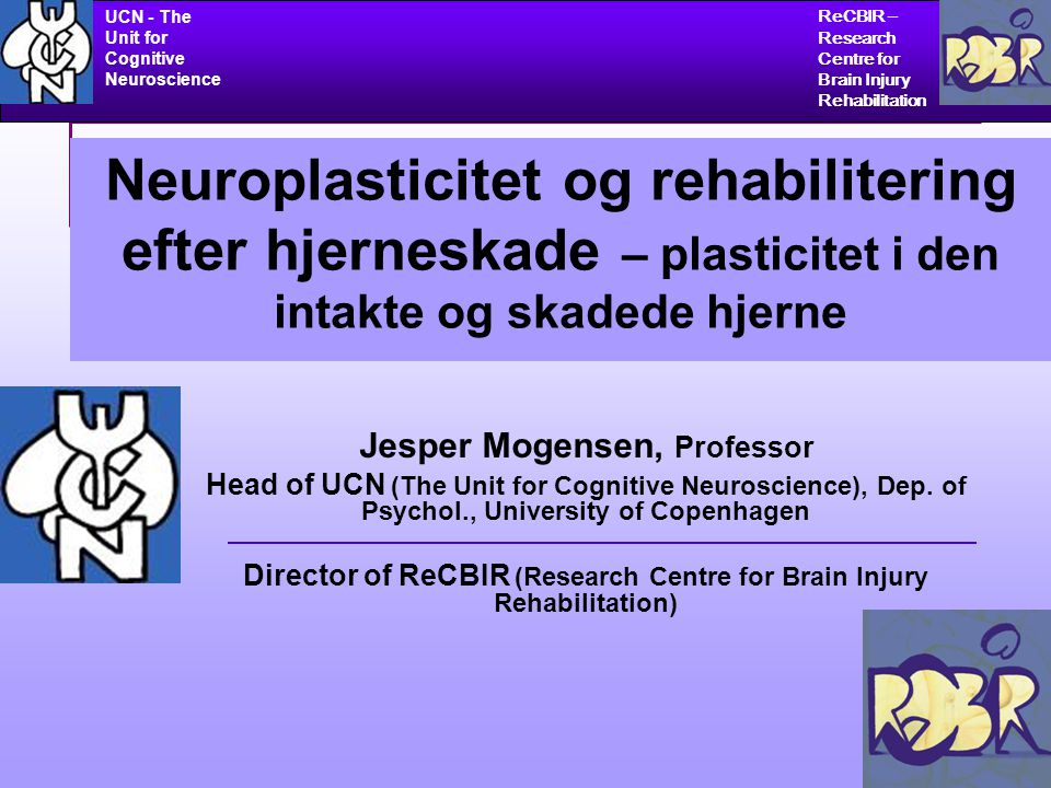 UCN - The Unit for Cognitive Neuroscience ReCBIR – Research Centre for Brain Injury Rehabilitation 32