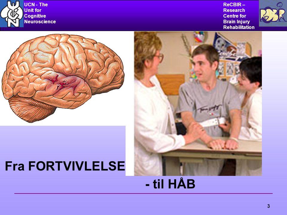 UCN - The Unit for Cognitive Neuroscience ReCBIR – Research Centre for Brain Injury Rehabilitation 3 Fra FORTVIVLELSE - til HÅB