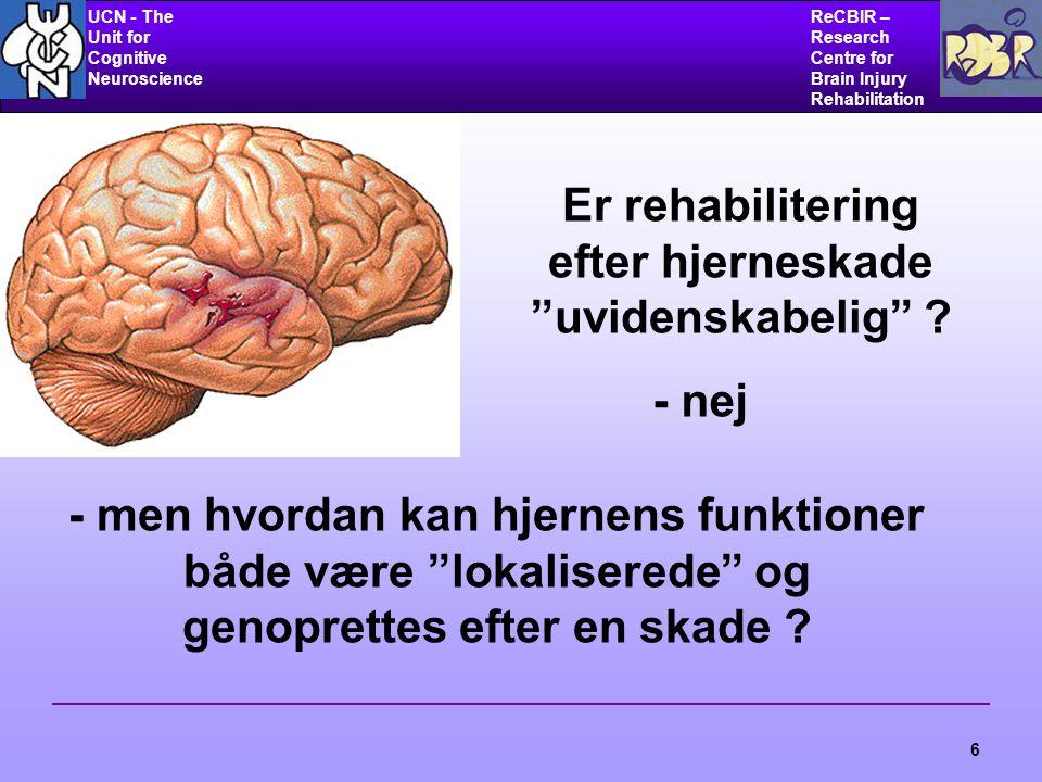 UCN - The Unit for Cognitive Neuroscience ReCBIR – Research Centre for Brain Injury Rehabilitation 6 Er rehabilitering efter hjerneskade uvidenskabelig .