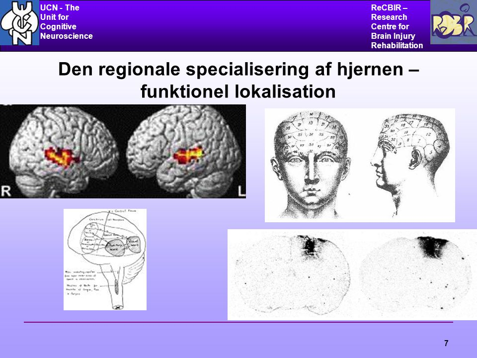 UCN - The Unit for Cognitive Neuroscience ReCBIR – Research Centre for Brain Injury Rehabilitation 7 Den regionale specialisering af hjernen – funktionel lokalisation