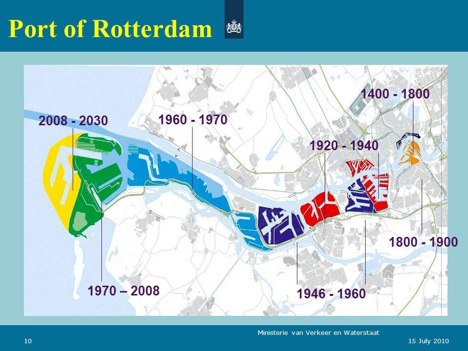 Ministerie van Verkeer en Waterstaat 1015 July 2010 Port of Rotterdam 1400 - 1800 1800 - 1900 1920 - 1940 1946 - 1960 1960 - 1970 1970 – 2008 2008 - 2030