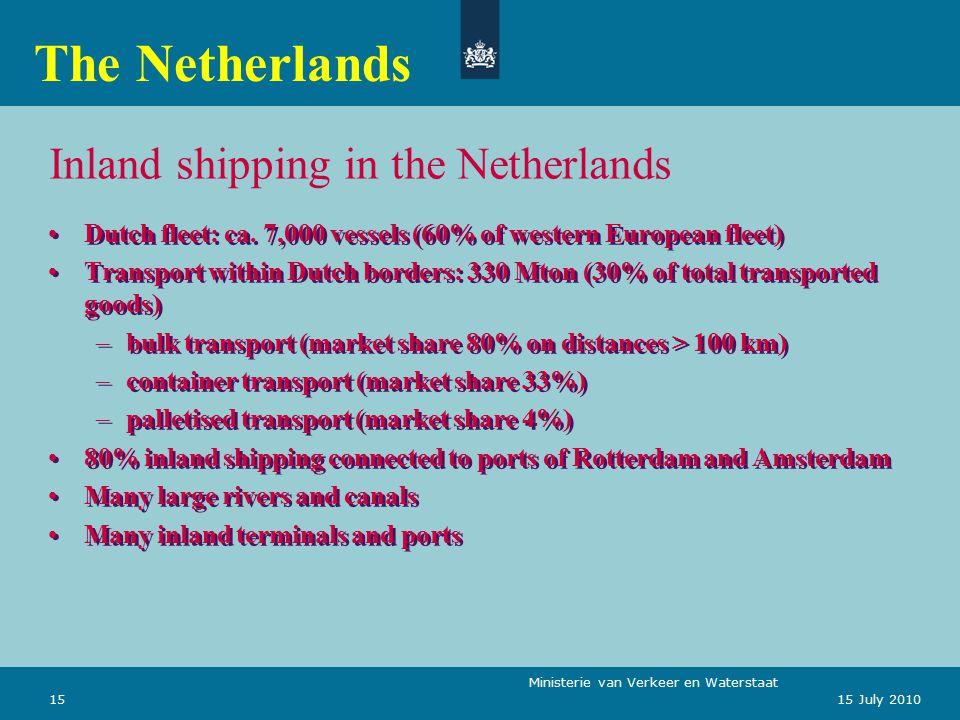 Ministerie van Verkeer en Waterstaat 1515 July 2010 Inland shipping in the Netherlands Dutch fleet: ca.