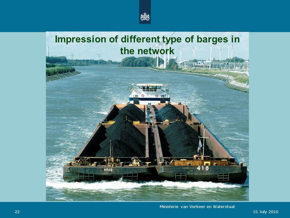 Ministerie van Verkeer en Waterstaat 2215 July 2010 Impression of different type of barges in the network