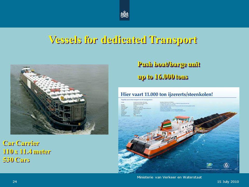 Ministerie van Verkeer en Waterstaat 2415 July 2010 Car Carrier 110 x 11.4 meter 530 Cars Push boat/barge unit up to 16.000 tons Push boat/barge unit up to 16.000 tons Vessels for dedicated Transport