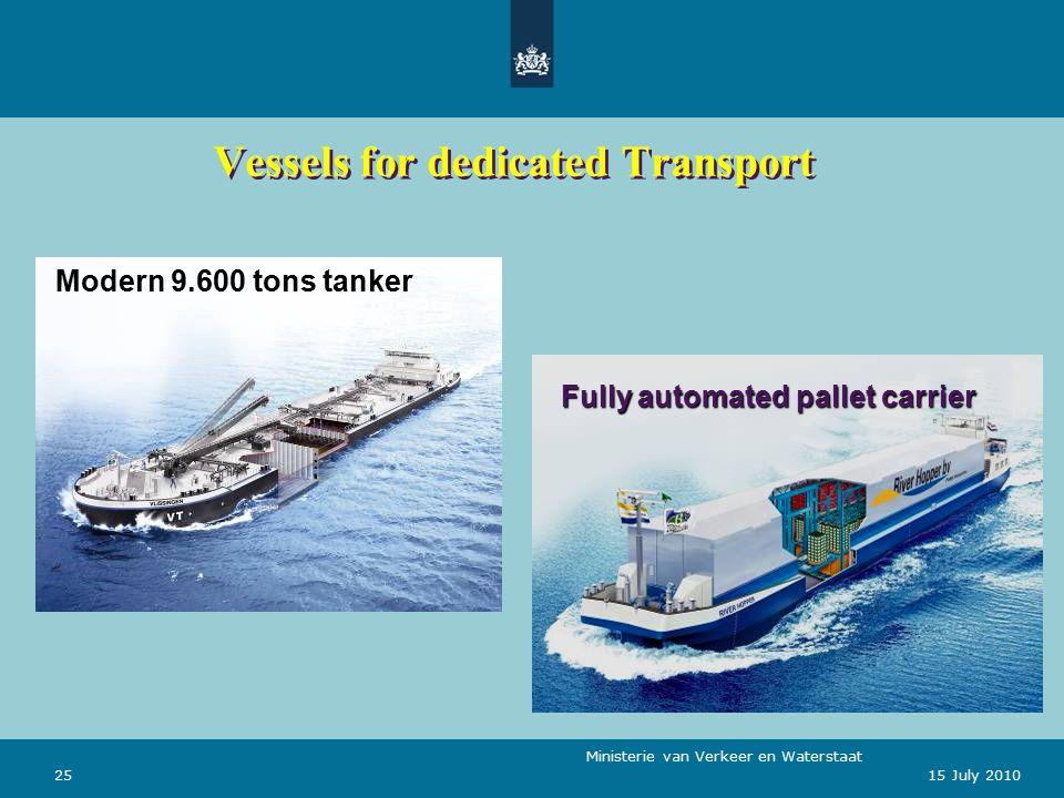 Ministerie van Verkeer en Waterstaat 2515 July 2010 Vessels for dedicated Transport Modern 9.600 tons tanker Fully automated pallet carrier