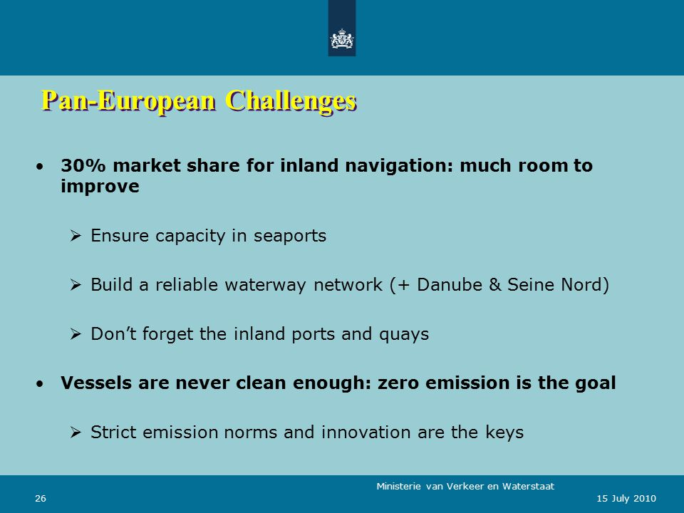Ministerie van Verkeer en Waterstaat 2615 July 2010 Pan-European Challenges 30% market share for inland navigation: much room to improve  Ensure capacity in seaports  Build a reliable waterway network (+ Danube & Seine Nord)  Don't forget the inland ports and quays Vessels are never clean enough: zero emission is the goal  Strict emission norms and innovation are the keys