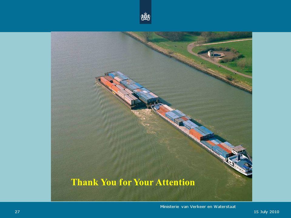 Ministerie van Verkeer en Waterstaat 2715 July 2010 Thank You for Your Attention