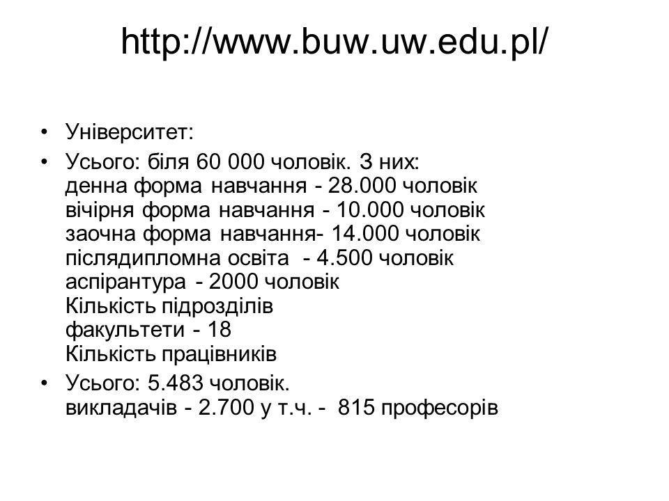 http://www.buw.uw.edu.pl/ Університет: Усього: біля 60 000 чоловік.