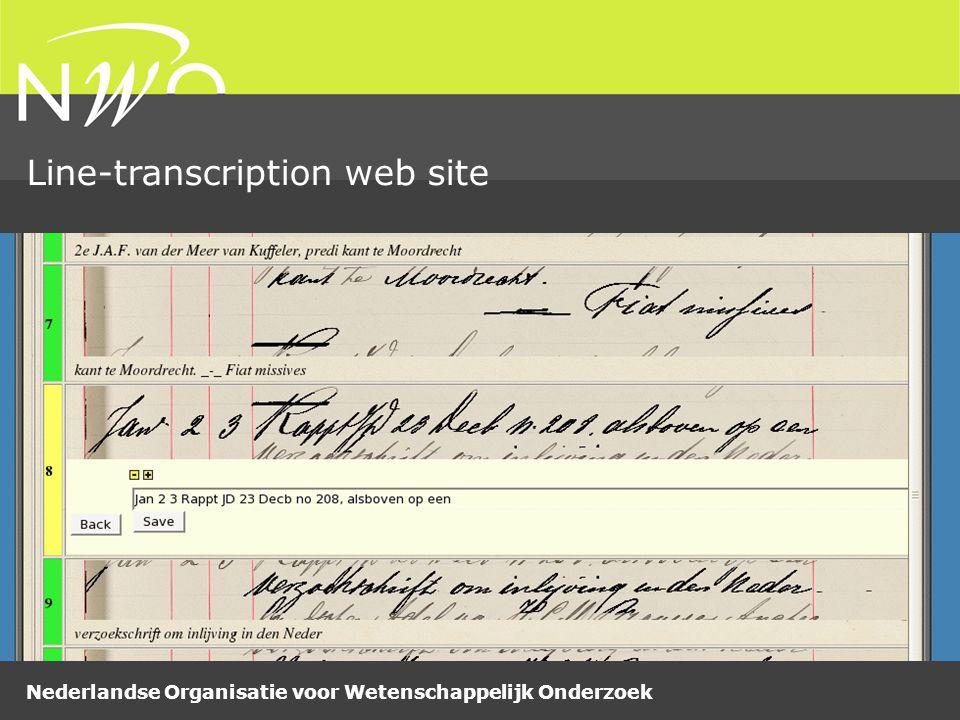 Nederlandse Organisatie voor Wetenschappelijk Onderzoek Line-transcription web site