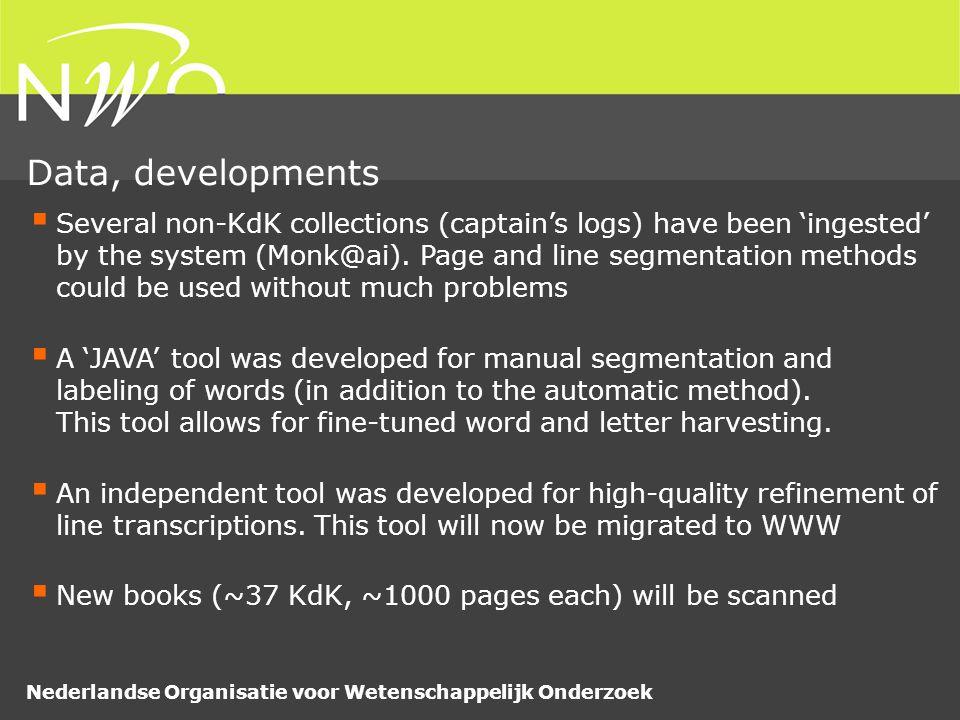 Nederlandse Organisatie voor Wetenschappelijk Onderzoek  Several non-KdK collections (captain's logs) have been 'ingested' by the system (Monk@ai).