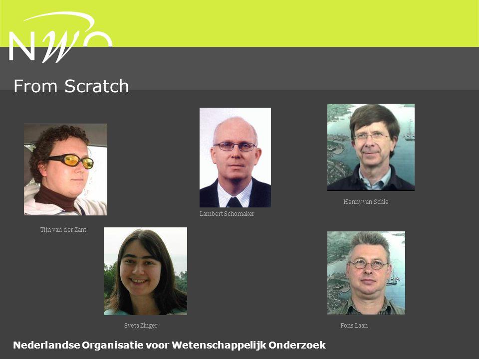 Nederlandse Organisatie voor Wetenschappelijk Onderzoek From Scratch Lambert Schomaker Henny van Schie Tijn van der Zant Fons LaanSveta Zinger