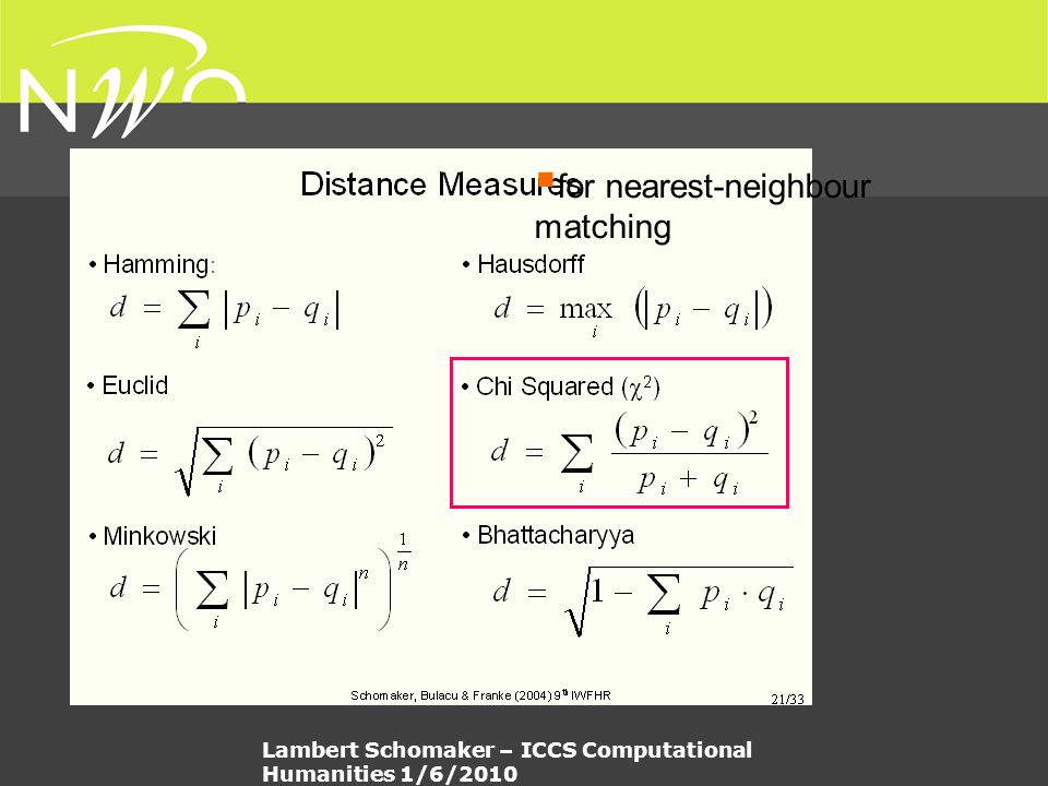  for nearest-neighbour matching Lambert Schomaker – ICCS Computational Humanities 1/6/2010