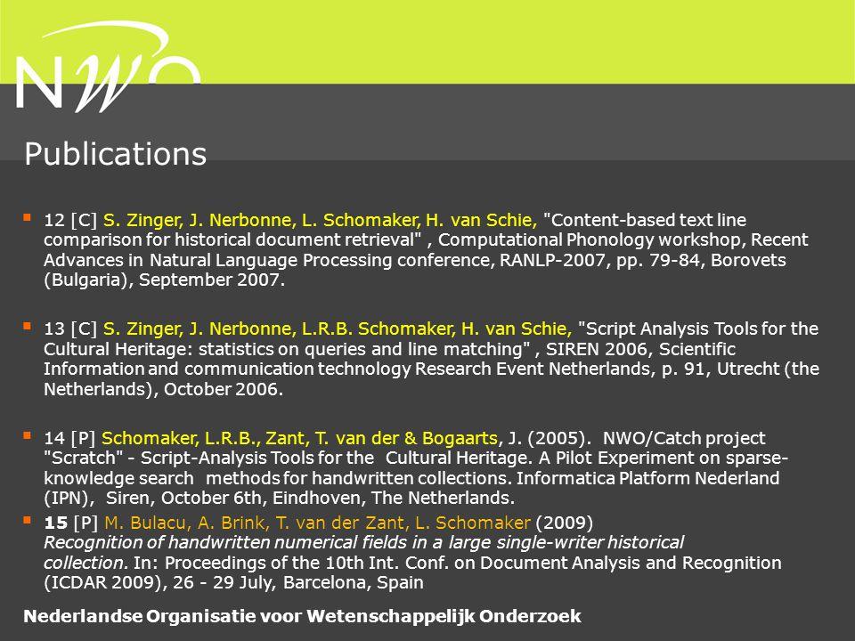 Nederlandse Organisatie voor Wetenschappelijk Onderzoek  12 [C] S.