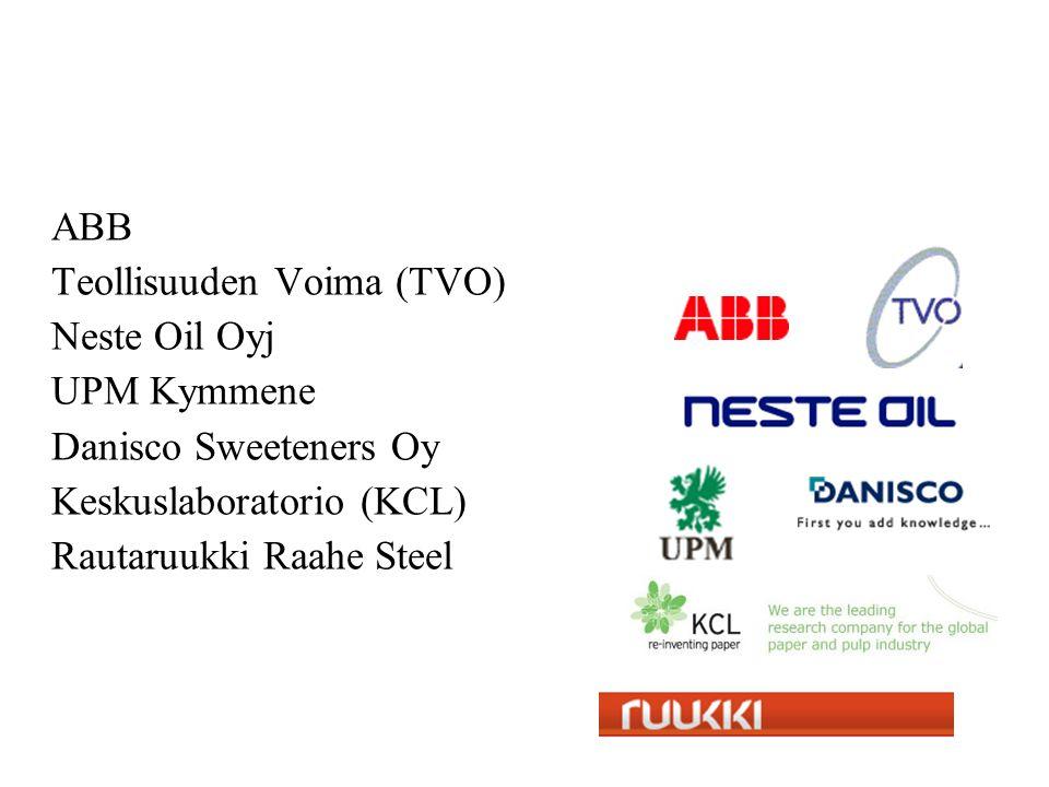 ABB Teollisuuden Voima (TVO) Neste Oil Oyj UPM Kymmene Danisco Sweeteners Oy Keskuslaboratorio (KCL) Rautaruukki Raahe Steel
