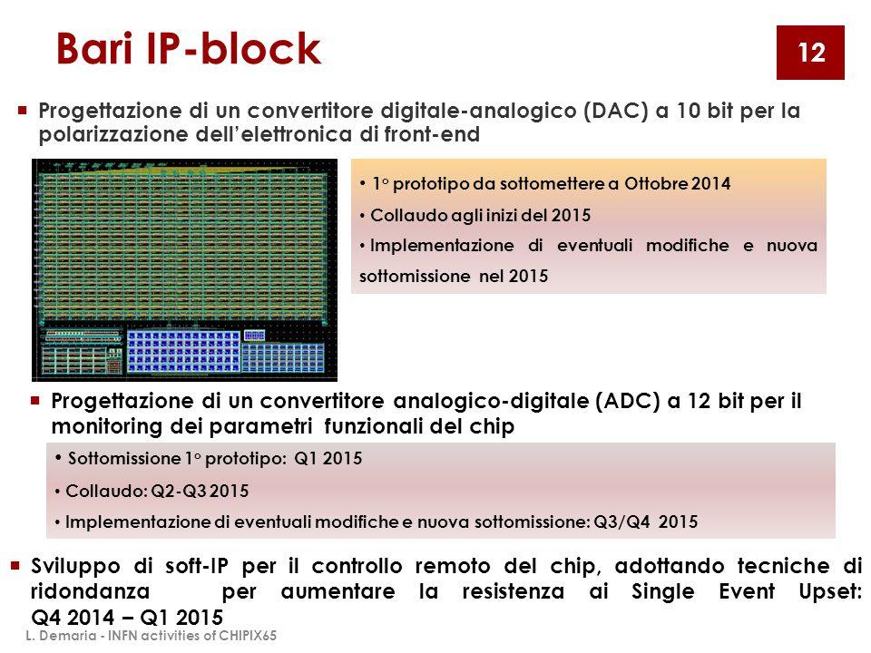 Bari IP-block  Progettazione di un convertitore digitale-analogico (DAC) a 10 bit per la polarizzazione dell'elettronica di front-end 1 o prototipo d