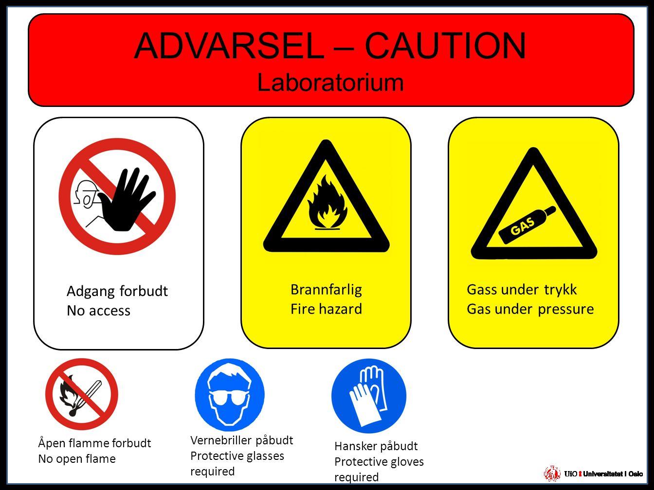 ADVARSEL – CAUTION Laboratorium Adgang forbudt No access Gass under trykk Gas under pressure Brannfarlig Fire hazard Åpen flamme forbudt No open flame