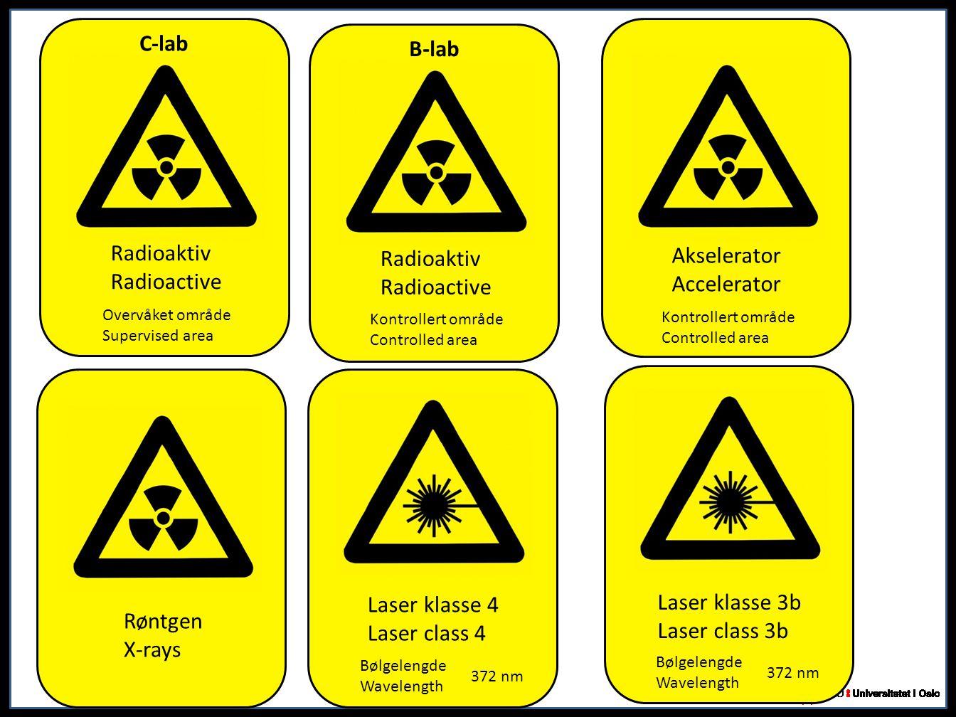 Røntgen X-rays Radioaktiv Radioactive C-lab Overvåket område Supervised area Laser klasse 4 Laser class 4 Bølgelengde Wavelength 372 nm Radioaktiv Rad