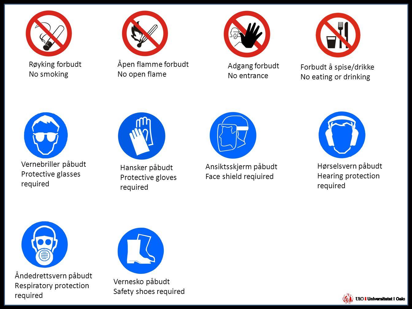 Røyking forbudt No smoking Åpen flamme forbudt No open flame Adgang forbudt No entrance Vernesko påbudt Safety shoes required Vernebriller påbudt Prot