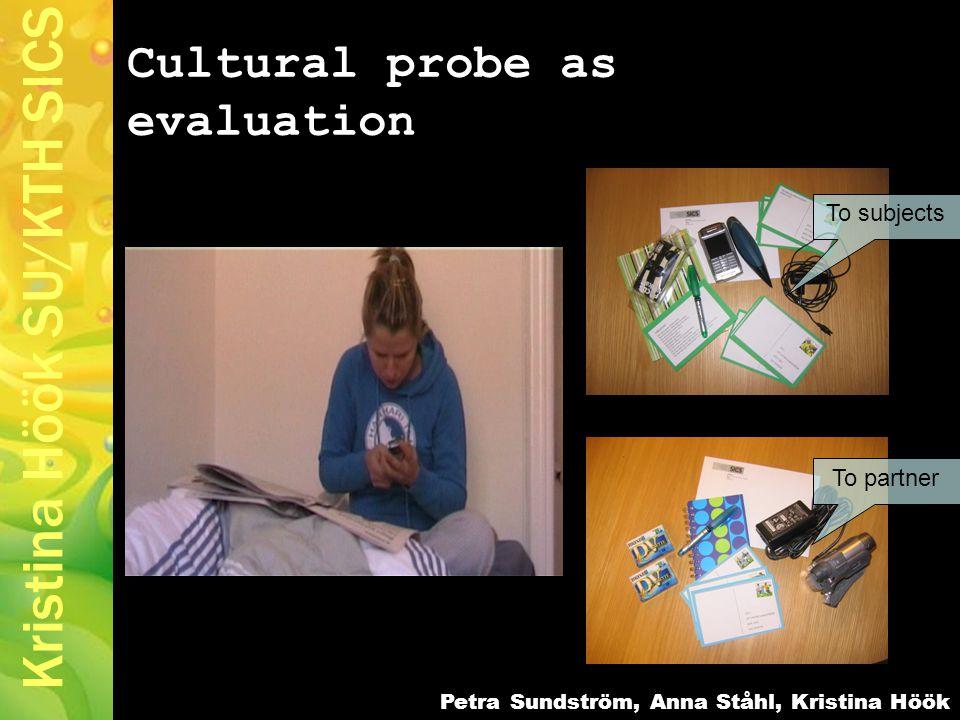 Kristina Höök SU/KTH SICS Cultural probe as evaluation Petra Sundström, Anna Ståhl, Kristina Höök To subjects To partner