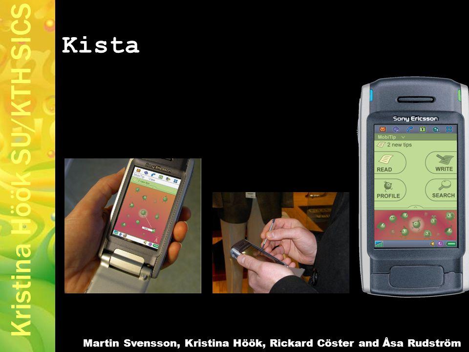 Kristina Höök SU/KTH SICS Kista Martin Svensson, Kristina Höök, Rickard Cöster and Åsa Rudström