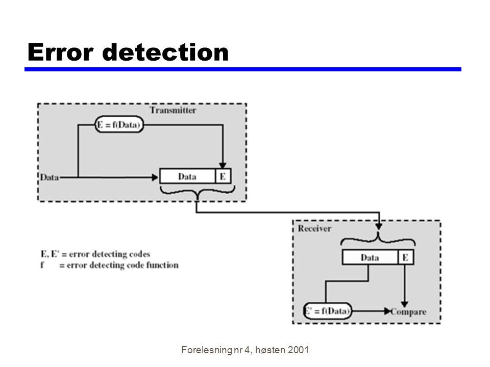 Forelesning nr 4, høsten 2001 Error detection