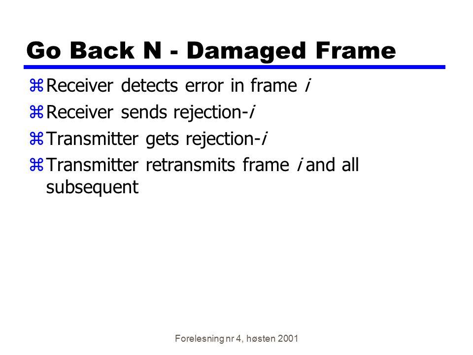 Forelesning nr 4, høsten 2001 Go Back N - Damaged Frame zReceiver detects error in frame i zReceiver sends rejection-i zTransmitter gets rejection-i z
