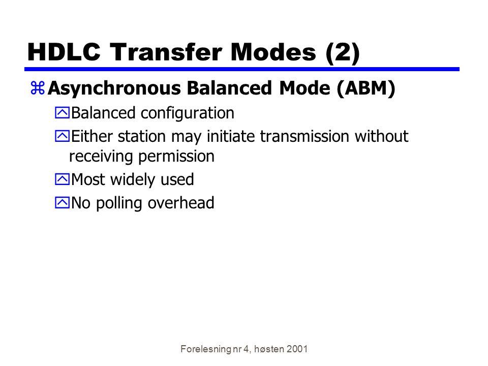 Forelesning nr 4, høsten 2001 HDLC Transfer Modes (2) zAsynchronous Balanced Mode (ABM) yBalanced configuration yEither station may initiate transmiss