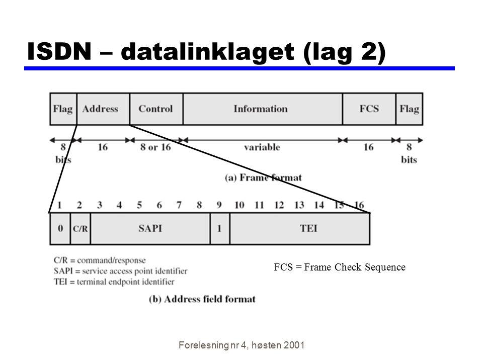 Forelesning nr 4, høsten 2001 ISDN – datalinklaget (lag 2) FCS = Frame Check Sequence