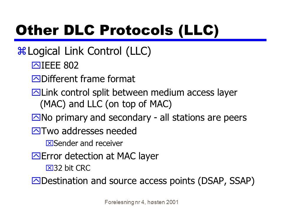 Forelesning nr 4, høsten 2001 Other DLC Protocols (LLC) zLogical Link Control (LLC) yIEEE 802 yDifferent frame format yLink control split between medi