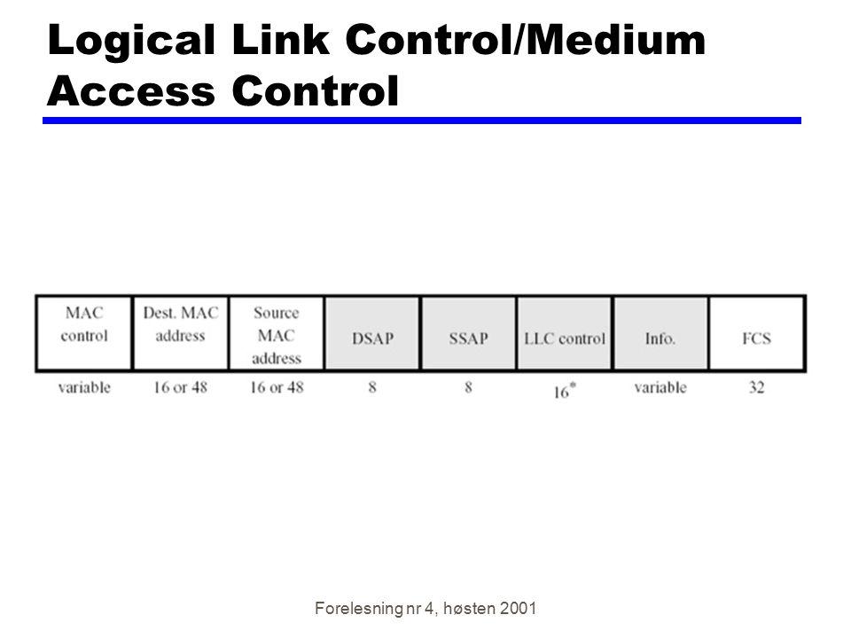 Forelesning nr 4, høsten 2001 Logical Link Control/Medium Access Control
