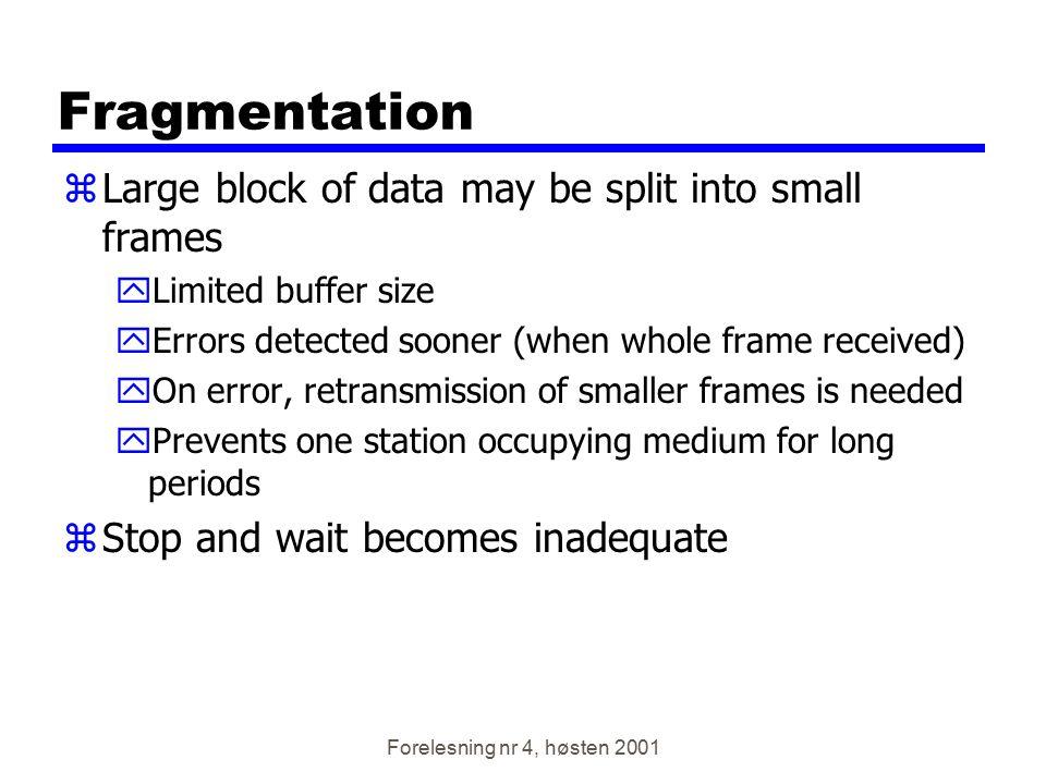 Forelesning nr 4, høsten 2001 Link utnyttelse Transmission time = tid det tar å sende en ramme Settes = 1 Propagation delay = tid det å sende en bit fra A til B Settes = a