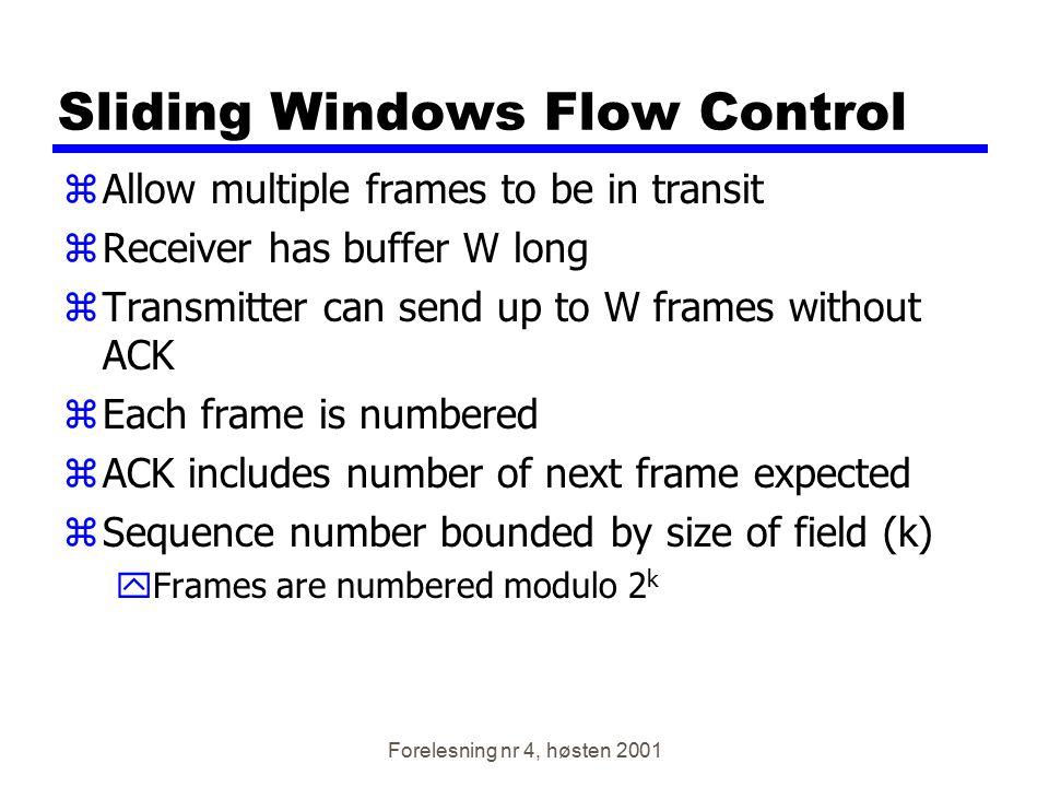 Forelesning nr 4, høsten 2001 Sliding Windows Flow Control zAllow multiple frames to be in transit zReceiver has buffer W long zTransmitter can send u