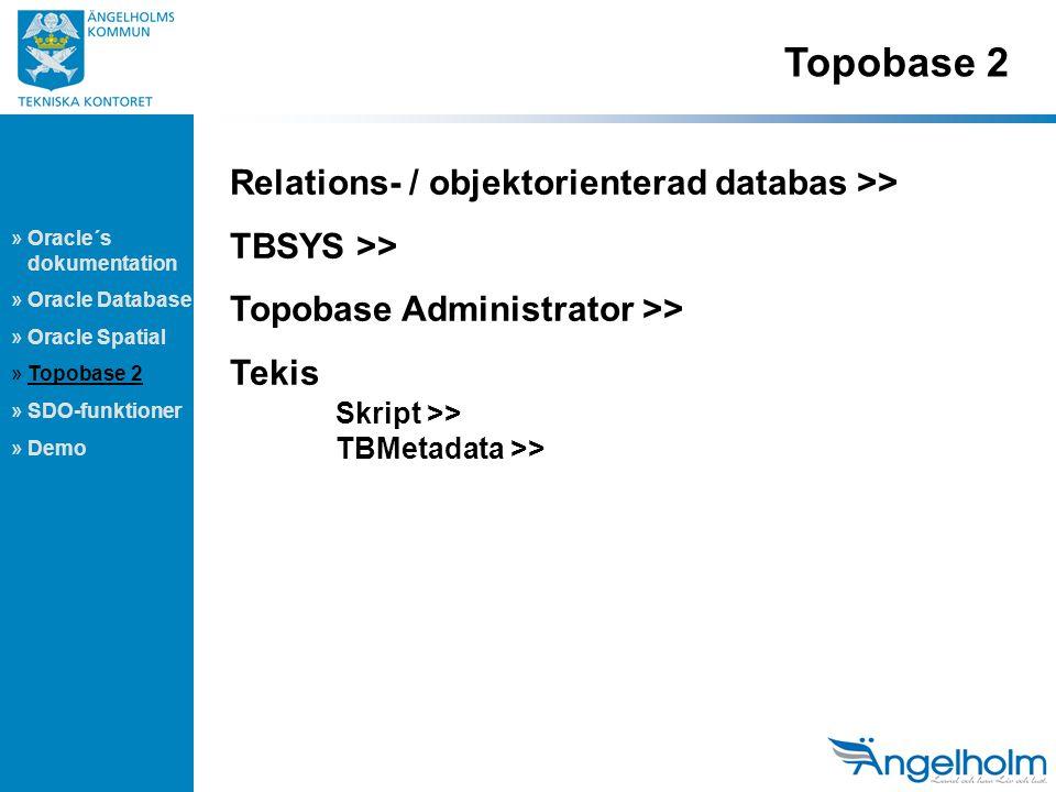 Topobase 2 » Oracle´s dokumentation » Oracle Database » Oracle Spatial » Topobase 2 » SDO-funktioner » Demo Relations- / objektorienterad databas >> TBSYS >> Topobase Administrator >> Tekis Skript >> TBMetadata >>
