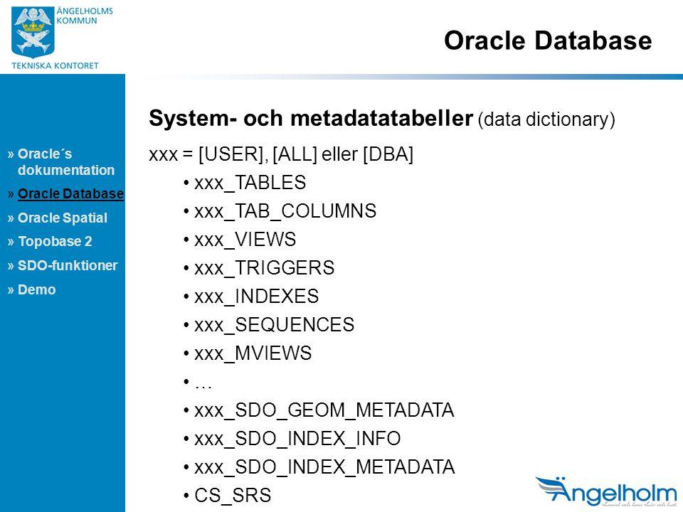 Oracle Database » Oracle´s dokumentation » Oracle Database » Oracle Spatial » Topobase 2 » SDO-funktioner » Demo System- och metadatatabeller (data dictionary) xxx = [USER], [ALL] eller [DBA] xxx_TABLES xxx_TAB_COLUMNS xxx_VIEWS xxx_TRIGGERS xxx_INDEXES xxx_SEQUENCES xxx_MVIEWS … xxx_SDO_GEOM_METADATA xxx_SDO_INDEX_INFO xxx_SDO_INDEX_METADATA CS_SRS