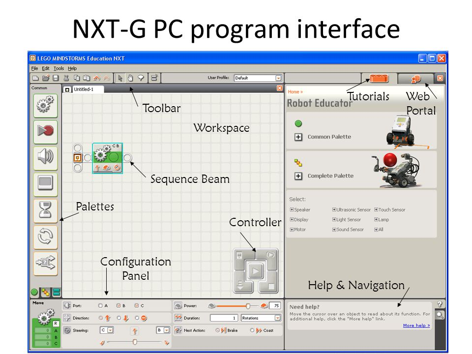 NXT-G PC program interface Toolbar Workspace Configuration Panel Help & Navigation Controller Palettes TutorialsWeb Portal Sequence Beam